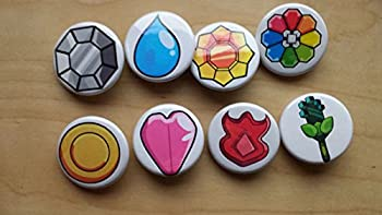 Pokemon Collectible 1  inch Buttons - 1st Gen Badge Kanto Set - Custom Made - Pin Back - Gift Party Favor