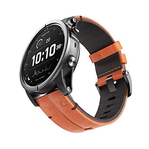 NotoCity Fenix 6X/5X Plus Band, Genuine Leather 26mm Quick Easy Fit Watch Strap for Garmin Fenix 6X/6X Pro/5X/5X Plus/3/3 HR/Descent Mk1 Smartwatch(Brown)