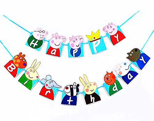 Birthday Banner ❤Peppa Pig Birthday Decoration Flag Peppa Pig Flag for Birthday Decoration (with One Bonus Sheet of Sticker)