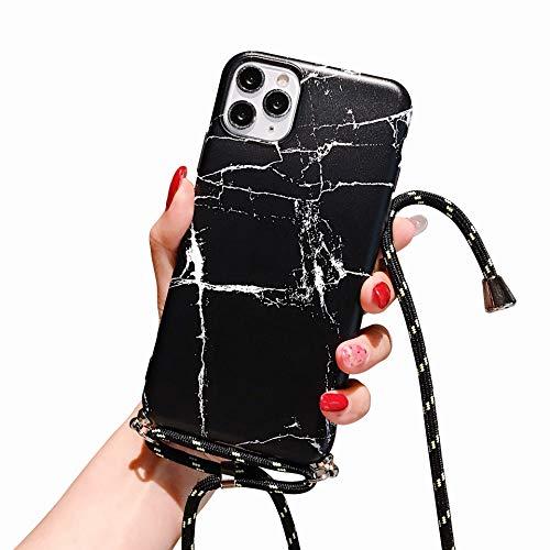 Suhctup Compatible pour iPhone 12 Coque Silicone avec Cordon de Collier Réglable Lanière Marbre Motif Étui Ultra Mince Souple TPU Housse Anti-Chocs Protection Cover-Marbre 6