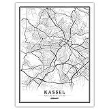 WJWAINI Weltkartedekorativewandbilder Kassel Stadtplan