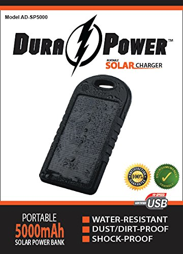 Solar Charger - DURA ϟ POWER AD-SP5000 - NEWEST On the Market, ENVIRONMENTALLY FRIENDLY Model, 5000mAh Dual Portable USB Charger Power Bank w/ LED Flashlight, Carabiner and Charging Cord. This Rechargeable External Battery Pack is constructed with a Solar Panel for Emergency Charging. This Unit is a Shock Proof, Dust Proof and Water Resistant Back-up Power Source for iPhone 6, 6 Plus, 5S, 5C, 5, 4S, 4, iPads, iPods, Mini, Air, Tablets, Android Devices, Samsung Galaxy S5, S4, S3, Galaxy Note 4, 3, 2, Most Smart/Cell Phones, PDAs, Video and Still Cameras, GoPros, MP3s, GPSs, Bluetooth Devices, Gaming Devices, Tablets, and other devices with USB Charging Abilities. We Guarantee 100% Satisfaction with a 30 Day along with a One Year Warrantee for Defective parts.