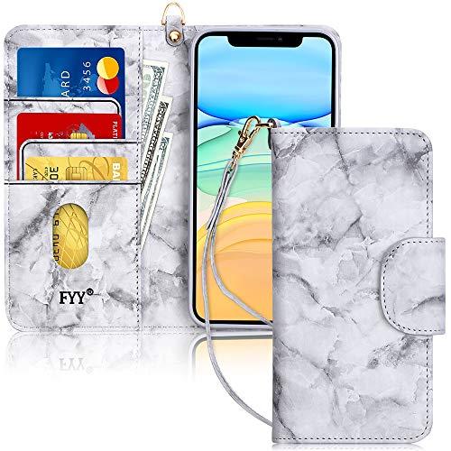 FYY Handyhülle für iPhone 11 6.1, iPhone 11 Hülle, Lederhülle mit Standfunktion & Kartenfach TPU Innenraum und [RFID-Schutz] Handytasche für Apple iPhone 11 6.1 Zoll (2019)-Marmor Schwarz