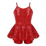 FEESHOW Girls Sequined Ballet Jazz Tap Dress Performance Modern Dance Costume Criss Cross Back Leotard Shorts Red 7-8