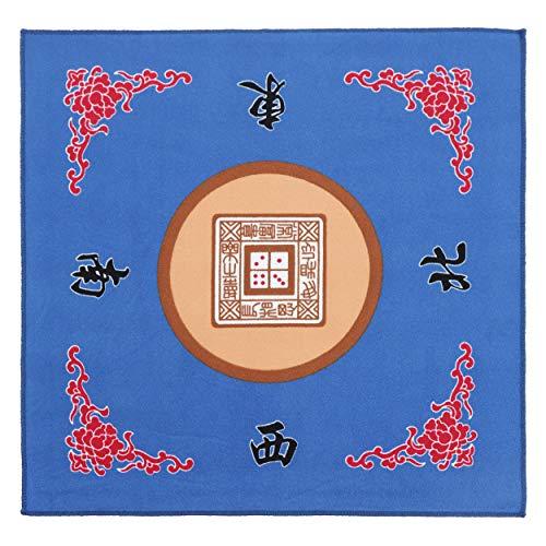 Jigitz Blue Game Mat with Case - Classic Chinese Mahjong Table Mat - 30.8 x 30.8in Felt Table Cover Mahjong Mat