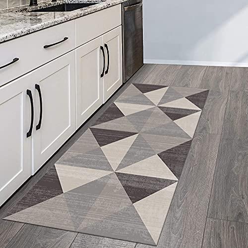 QIANGZI Alfombra de pasillo antideslizante, moderna geometría triangular, resistente a la suciedad para pasillo, piso de cocina, pasillo, pasillo y pasillo lavable (tamaño: 80 x 250 cm, color: A)