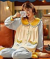 春秋パジャマセット女性の綿長袖カーディガンネイビーカラーパジャマ漫画ルース女性ホームスーツかわいいパジャマ-M