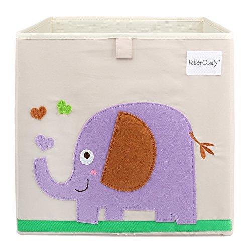 Valleycomfy boîte de Rangement pour Enfants Cartoon Pliable Cube pour Livres/vêtements/Chaussures/Jouets 33 x 33 x 33 cm