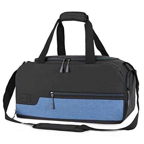 MarsBro Water Resistant Sports Gym Travel Weekender Duffel Bag with Shoe Compartment Black/Blue