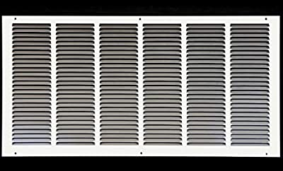 """26""""w X 14""""h Steel Return Air Grilles - Sidewall and Ceiling - HVAC Duct Cover - White [Outer Dimensions: 27.75""""w X 15.75""""h]"""
