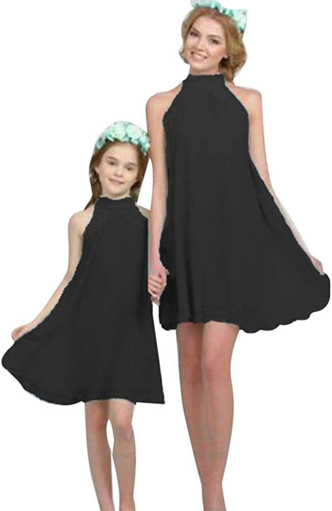 Summer Matching Family Clothes Off Shoulder Mini Chiffon Mother and Daughter Dress for Mommy and Me Wedding Party