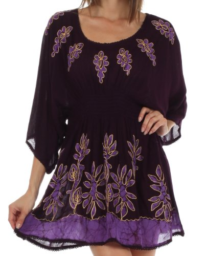 Sakkas 982 Gestickte Batik Gauzy Rayon Tunika Bluse - Aubergine - One Size