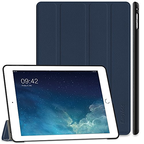 EasyAcc Hülle Kompatibel mit iPad Air 2, Ultra Slim Cover Schutzhülle PU Lederhülle mit Standfunktion/Auto Sleep Wake Up Funktion Kompatibel mit iPad Air 2 2014 Modell Number A1566/A1567 - Dunkelblau