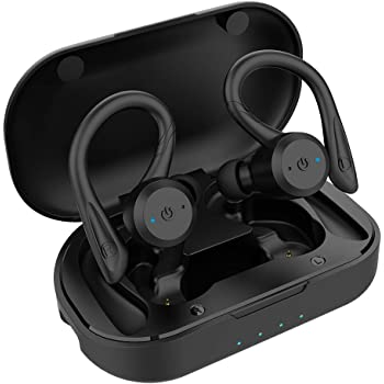 APEKX Bluetooth Headphones True Wireless Earbuds with Charging Case IPX7 Waterproof TWS Stereo Sound Earphones Built-in Mic in-Ear Headsets Deep Bass for Sport Running Black