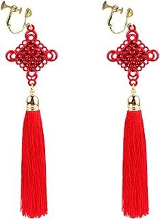 Fashion Clip on Earrings Bohemian Red Long Tassel Silk Fringe Thread China Knot Rope for Girls Women