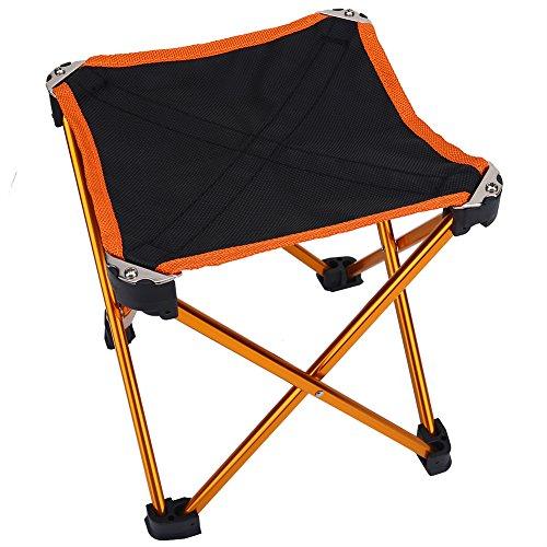 YOPOTIKA Taburete plegable de aleación de aluminio ultraligero portátil camping Quad silla para acampar senderismo y viajar con bolsa de transporte