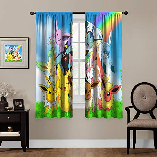 Blackout Curtains for Anime Fans,Pikachu Eeveelution, Rod Pocket Thermal Insulated Darkening Window Drapes for Bedroom, Cute Animal Boys Girls Room Décor, 2 Panels,55x63 inch