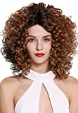 WIG ME UP- LBP09-MF-GD2410 peluca de mujer front lace malla frontal monofilamento rizos volumen pelo rizado castaño oscuro castaño cobrizo