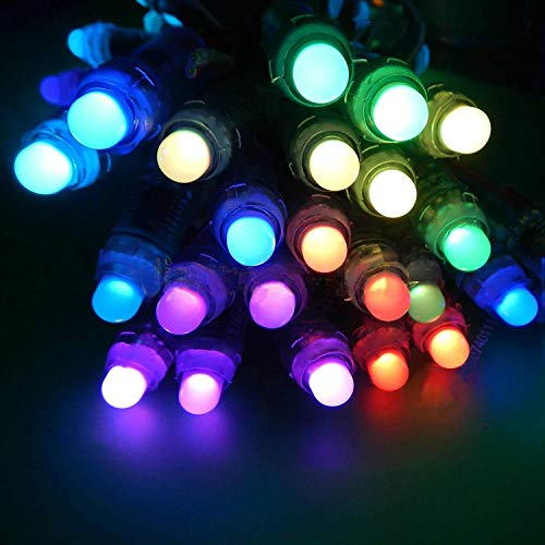 WS2801 Pixel Led String, 50PCS WS2801 12 mm Impermeable a todo color individual digital RGB LED cuerda de luz DC 5V