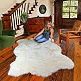 Thick White Shag Faux Fur Polar Bear Area Throw Rug Plush Premium Luxury Fur (4'x5')