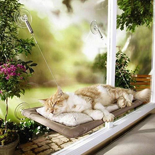 SDFG Hamaca de gato montada en la ventana, cama cálida, columpio, cómoda, cojín para animales domésticos, gato con ventosa, para colgar en la cuna, entretenimiento de animales domésticos