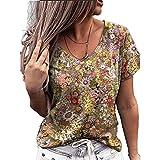 Elesoon T-shirt d'été à manches courtes pour femme Motif drapeau américain, a-jaune, 40
