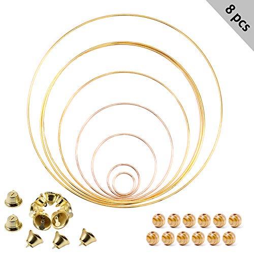 ZOORE 8 Stück DIY Metallring, Gold Beschichtet Ringe, Metallring Floral Hoops für Wickeltechnik, Traumfänger Ring, Hochzeit Dekor, Makramee Ring, Floristik- 30øx1/25øx2/20øx1/15øx1/10øx1/5øx1/3.5øx1