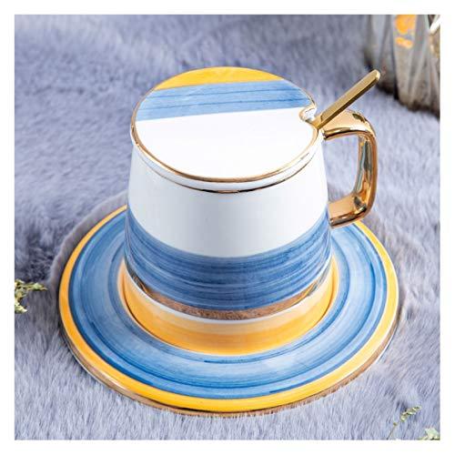 KGDC Tazas de Espresso Taza de Lujo de Estilo Europeo Pequeño Copa de café Pintada a Mano Copa de cerámica de Dos Colores con Tapa y Cuchara, la Primera opción para Las familias Taza de té