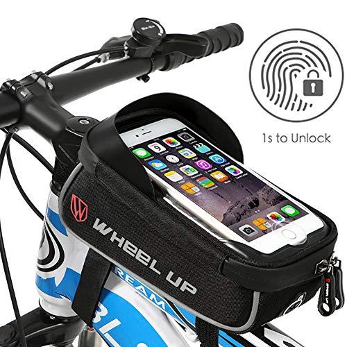 HIKENTURE® Fahrradtasche mit Fingerabdrucksensor, wasserdichte Rahmentasche mit TPU-Touchscreen, Oberrohrtasche für Fahrrad, Handyhalter Fahrrad, Geeignet für Handys bis 6,3 Zoll(Mit Touch ID)