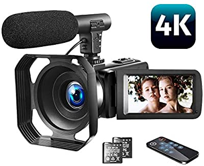 "Video Camera 4K Camcorder Vlogging Camera with Microphone YouTube Camera Recorder Ultra HD 30MP 3.0"" IPS Touch Screen with Lens Hood & 2 Batteries from LINNSE"