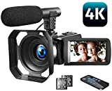 Video Camera 4K Camcorder Vlogging Camera with Microphone YouTube Camera...