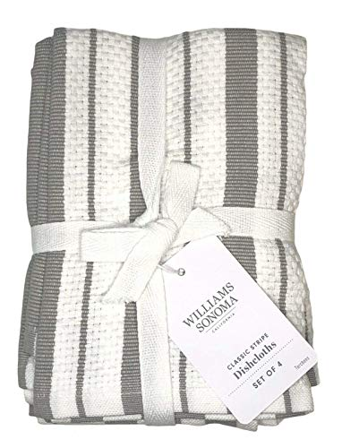 Williams-Sonoma Classic Striped Dishcloths, Dishrags, Drizzle Grey (Set of 4)