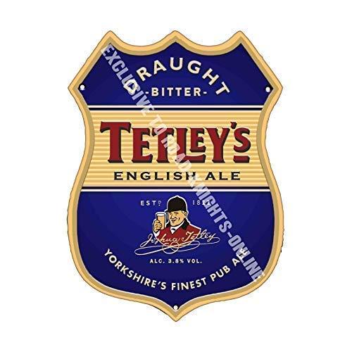 Tetley's Bitter. Inglese Ale. Birra pubblicità Bar Vecchio Pub Bevande Pompa Distintivo Brewery Botte Keg Draught Real Ale Pinta Alcool Luppolo Forma Metallo/Targa da Parete in Acciaio - 27 x 20 cm