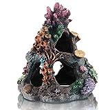 dohaooe - decorazione per acquario, corallo, per acquario, roccia, montagna, grotta, ornamenti per pesci betta