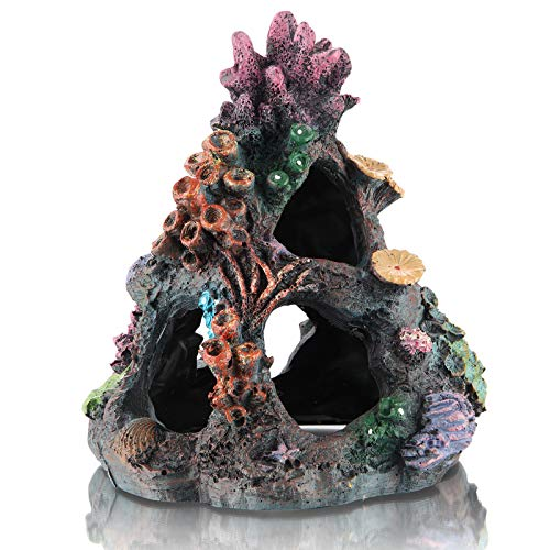 DOHAOOE Acuario Coral Decoración Pecera Rock Mountain Cueva Ornamentos para Betta Fish