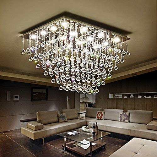 Saint Mossi 12-Lights Modern Chandelier K9 Crystal Chandelier Light Fixture by Raindrop Chandelier Design,Modern Flush Mount Ceiling Light Fixtures,H16' x W22' x L31'