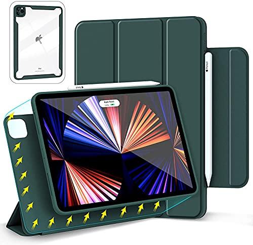 Gahwa Hülle Magnetisch für iPad Pro 11 Zoll 2021 und 2020 und 2018 Smart Folio, Superdünn Schutzhülle Hülle mit Auto Sleep/Wake & Magnetisch Befestigung - Dunkelgrün