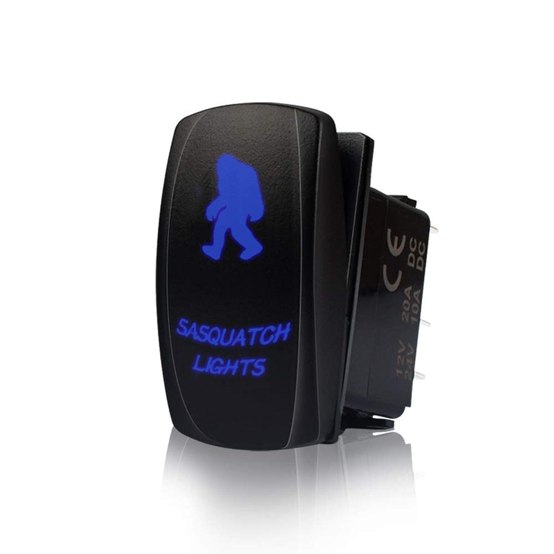 TERRAIN VISION Led Light Switch Off Road Lights LED Light Bar On-Off Sasquatch Lights Rocker Switch with Jumper Wire, 5 Pin, 20 Amp, 12V LED Lights Led Light Switch