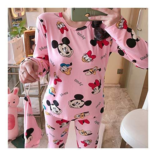 Pijama Camisón Mujer Otoño gótico lindo de la historieta de Mickey Imprimir pijama de manga larga Dos Mujeres piezas de ropa de sport Inicio O-Cuello pijamas Set Pijama ( Color : 4 , Size : 170(XL) )