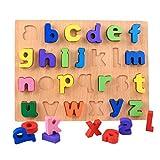 STOBOK Montessori - Puzzle de madera con números y letras de madera, juguete con letras de madera, número del alfabeto, juguete educativo para bebés y niños
