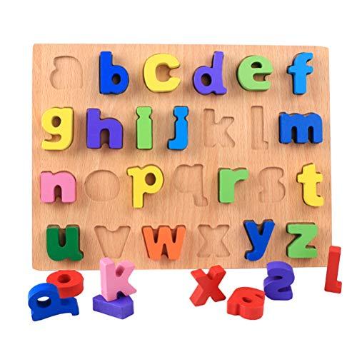 STOBOK 1 Stück Holz Zahlen Buchstaben Holzpuzzle Montessori Spielzeug Holzbuchstaben Nummer Alphabet Puzzle Holzspielzeug ABC Lernspielzeug für Baby Kinder Puzzle Steckspiel