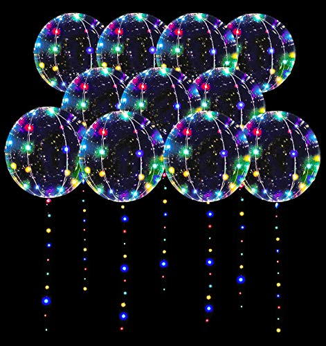 LED Balloons 10 Pack, Light Up Balloons 20 Inches Clear Helium Bobo Balloons, Glow Bubble Balloons with String Lights for Valentines Day Halloween Christmas Wedding Birthday Party Decoration
