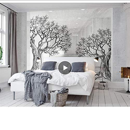 Papel pintado MRQXDP Hogar moderno Fondo de la pared Fondo de pantalla 3D espacio en blanco y negro bosquejo línea árbol Foto mural de la pared Papel tapiz 3D