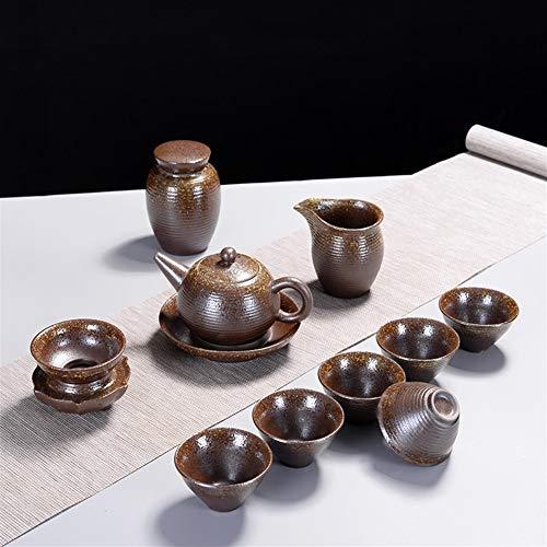Bin Zhang Rétro bois de chauffage entreprises de création cadeau Kung Fu Tea Set Céramique Teapot (Color : Straight pot)