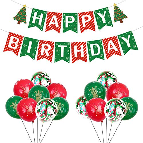 Christmas Birthday Decorations Happy Birthday Banner Red and Green Confetti Latex Balloons December Winter Wonderland Party Supplies