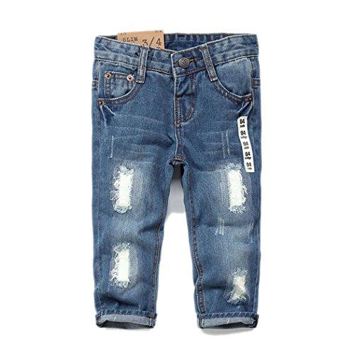 KIDSCOOL SPACE Baby Girl Boy Jean,D Ring Elastic Band Inside Ripped Denim Pants,Light Blue,6-12 Months