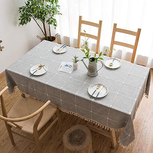 Tenrany Home Modern Tischdecke Baumwolle Leinen Grauer Streifen, Waschbar Rechteckig Tischdecken Stoff mit Quaste Edge für Küche Esstisch Couchtisch Tuch Dekoration(Grauer Gitter, 140 * 240 cm)