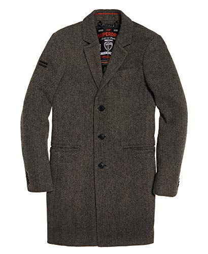 Superdry Herren Winter New Camden Crombie Mantel Grau Donegal L