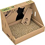Westerwälder Holzpellets GmbH CATLOO - Bio-Einweg-Katzentoilette Größe M - 50x35x35 cm (LxBxH) inkl. 2x2,2 kg Einstreu, Ausführung:ohne Höhle
