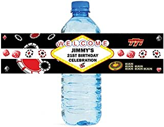 Casino Theme Water Bottle labels Great for birthday or Casino Theme Party